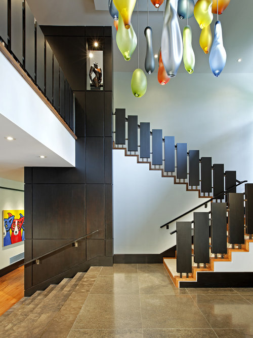 Perfect Mid Sized Contemporary Wooden U Shaped Staircase Idea In Toronto