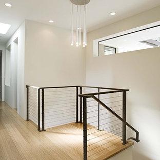 Ejemplo de escalera contemporánea con escalones de madera y barandilla de cable