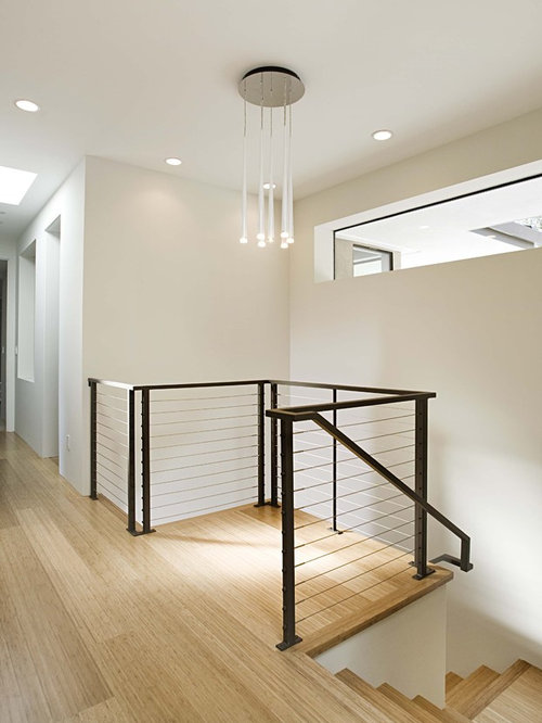 inspiration for a wooden cable railing staircase remodel in san francisco