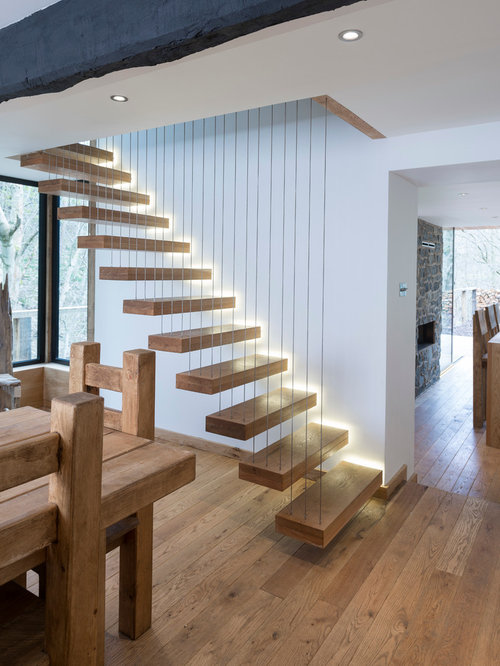 wooden floating open staircase idea in other