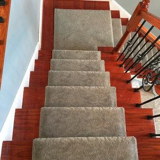 ニューヨークの中サイズのカーペット敷きのトラディショナルスタイルのおしゃれな直階段 (カーペット張りの蹴込み板) の写真