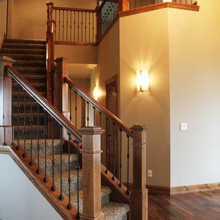 Diseño de escalera curva, rural, de tamaño medio, con escalones enmoquetados y contrahuellas enmoquetadas