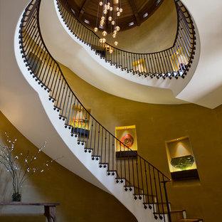 シンシナティの木の地中海スタイルのおしゃれなサーキュラー階段の写真