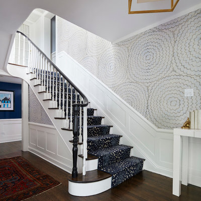 Staircase - mid-sized transitional wooden straight staircase idea in Chicago with painted risers