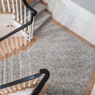Staircase Carpet Runner & White Oak Hardwood
