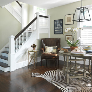 Example of a classic wooden wood railing staircase design in Providence