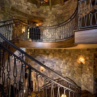 ミネアポリスのラスティックスタイルのおしゃれならせん階段の写真