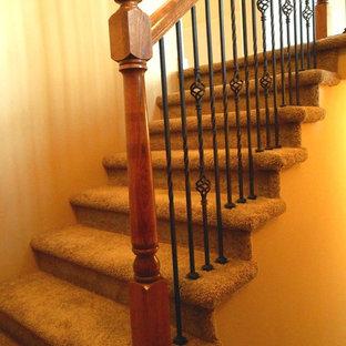 Свежая идея для дизайна: п-образная лестница среднего размера в классическом стиле с ступенями с ковровым покрытием и ковровыми подступенками - отличное фото интерьера