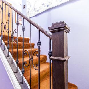 デンバーの小さいカーペット敷きのトランジショナルスタイルのおしゃれな折り返し階段 (カーペット張りの蹴込み板、金属の手すり) の写真