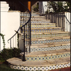 Mediterranean Staircase by Decorative Pool Tiles
