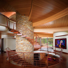 Contemporary Staircase by ROBERT HARVEY OSHATZ, ARCHITECT
