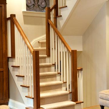 Staircase, Slate Flooring, Stain Glass Window, Carpet Runner