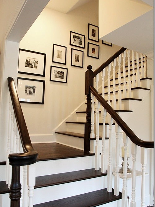 Decorating a staircase white rise with dark treads are for Cheap stair makeover