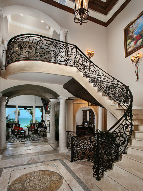 Mediterranean Staircase Tower : Ornate stair railing design ideas remodel pictures houzz