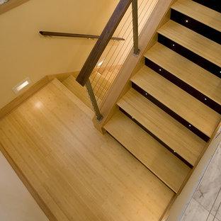 シアトルのコンテンポラリースタイルのおしゃれな階段 (ワイヤーの手すり) の写真