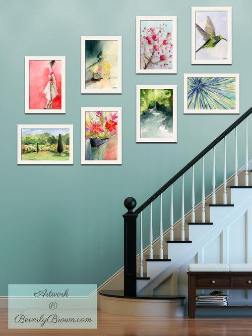 Photos et id es d co d 39 escaliers mur bleu canard - Idee deco montee trap ...
