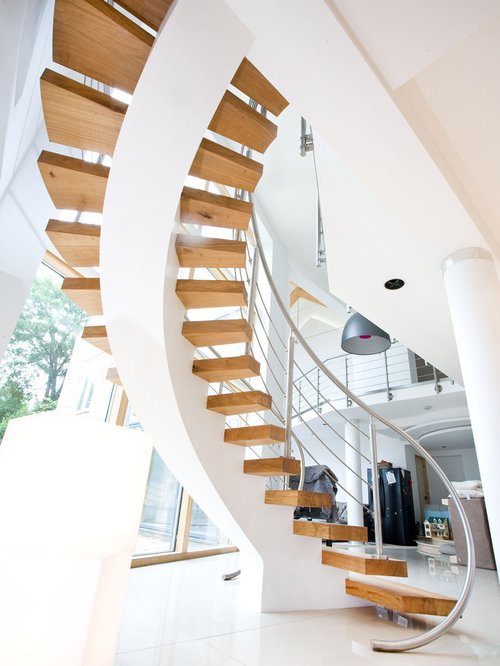 Freestanding staircase houzz for Free floating stairs