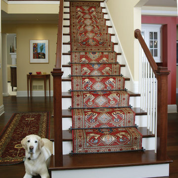 Staircases featuring runners and Zoroufy stair rods