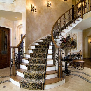 Exceptionnel Example Of A Classic Wooden Curved Mixed Material Railing Staircase Design  In Chicago