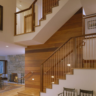 Large transitional staircase photo in Boston