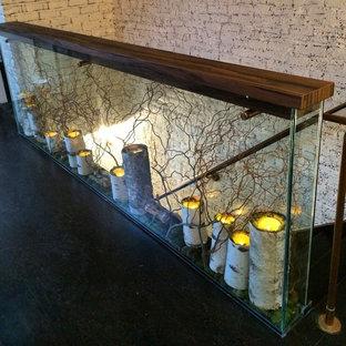 ニューヨークの中サイズの木のコンテンポラリースタイルのおしゃれな直階段 (木の蹴込み板、木材の手すり) の写真