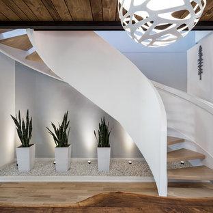 Inspiration för en mellanstor funkis svängd trappa i trä, med öppna sättsteg