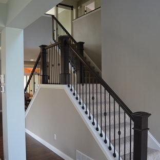 ミネアポリスの中くらいのカーペット敷きのモダンスタイルのおしゃれな直階段 (カーペット張りの蹴込み板) の写真