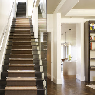 Inspiration for a transitional wooden straight staircase remodel in San Francisco with wooden risers