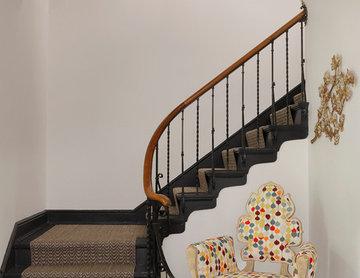 Stairway with iron railing