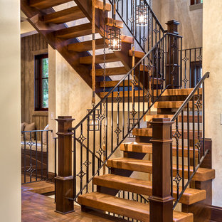 Example Of A Mountain Style Wooden Open Staircase Design In Other