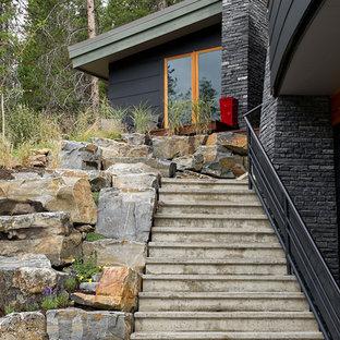 Imagen de escalera contemporánea con escalones de hormigón y contrahuellas de hormigón
