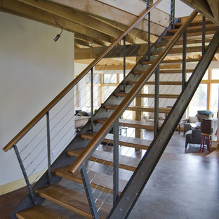 steel and cherry stair