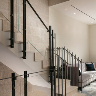 Steel, glass and brass staircase