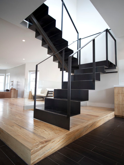 Metal U Shaped Staircase Design Ideas Remodels Amp Photos