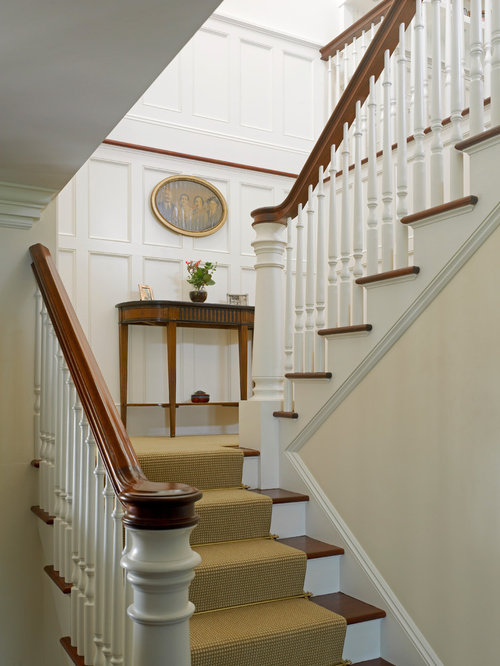 Elegant Wooden U Shaped Staircase Photo In Providence