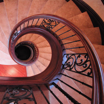 Stone Treads and Mahogany Handrail