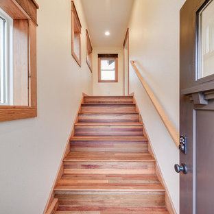 Example of a mid-sized classic wooden straight wood railing staircase design in Portland with wooden risers