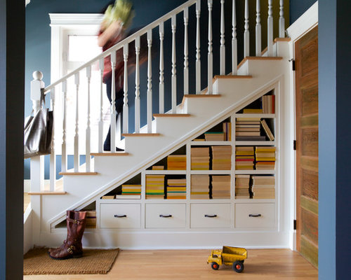 Staircase   Mid Sized Transitional Wooden Straight Wood Railing Staircase  Idea In Calgary