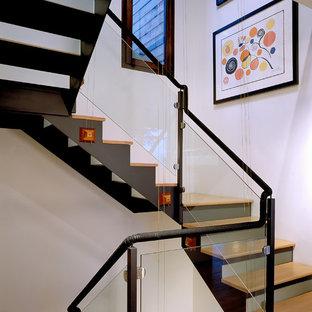 サンフランシスコの木のコンテンポラリースタイルのおしゃれな階段 (ガラスの蹴込み板) の写真