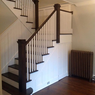 Syosset Long Island Craftsman Style Staircase -Jacobean Wood, Simply White Stair