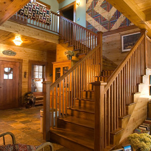Inspiration for a rustic wooden l-shaped staircase remodel in Minneapolis