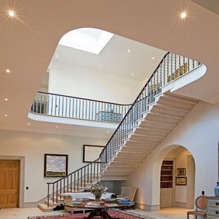 Design ideas for a mediterranean l-shaped staircase in Hampshire.