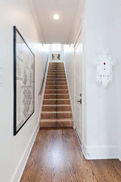 Transitional Staircase by Sally Wheat Interiors