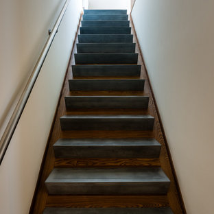 Staircase - mid-sized modern concrete straight metal railing staircase idea in Baltimore with wooden risers