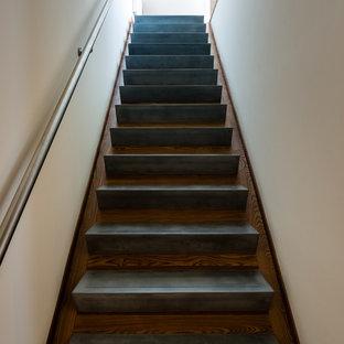 ボルチモアの中くらいのコンクリートのモダンスタイルのおしゃれな直階段 (木の蹴込み板、金属の手すり) の写真
