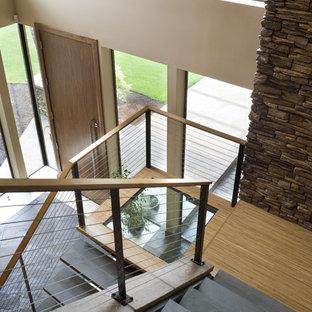 Идея дизайна: п-образная лестница в современном стиле с ступенями из сланца и перилами из тросов без подступенок