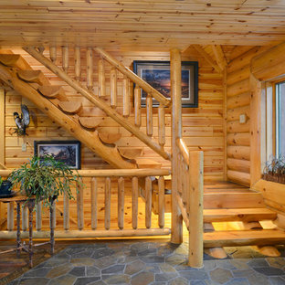 Inspiration For A Rustic Wooden Open Staircase Remodel In Other