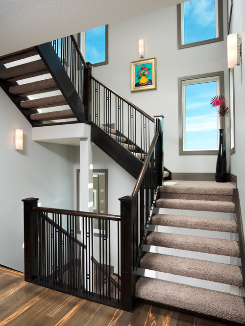 Example Of A Large Trendy Carpeted L Shaped Open Staircase Design In Calgary