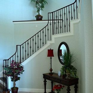 タンパの広い木のトランジショナルスタイルのおしゃれなサーキュラー階段 (木の蹴込み板) の写真
