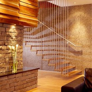 Foto de escalera suspendida, moderna, sin contrahuella